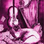 """MUSICAL CAT AND OWL  Pink Fuchsia Purple White"" by BulganLumini"