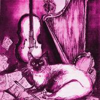 MUSICAL CAT AND OWL  Pink Fuchsia Purple White Art Prints & Posters by Bulgan Lumini