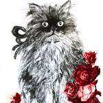 """""""KITTEN WITH RED ROSES ,Black and White"""" by BulganLumini"""