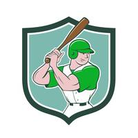 Baseball Player Batting Stance Shield Cartoon