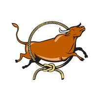 Texas Longhorn Red Bull Jumping Lasso Cartoon
