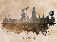 Cracow skyline brown