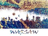 Warsaw skyline blue