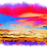Colorful Abstract Sunset Art Prints & Posters by Kirt Tisdale