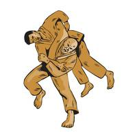 Judo Combatants Throw Front Etching