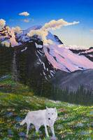 Mt Rainier and grey wolf painting