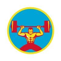 Weightlifter Lifting Weights Front Circle Retro
