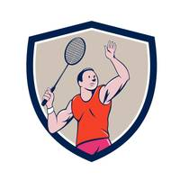 Badminton Player Racquet Striking Crest Cartoon