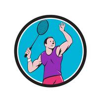 Badminton Player Racquet Striking Circle Cartoon