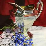 """Silver pitcher and bluebonnet"" by HaileyWatermedia"