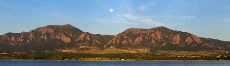 Full Moon Boulder Colorado Front Range Panorama