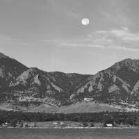 """BW Full Moon Boulder Colorado Front Range Panorama"" by James ""BO"" Insogna"