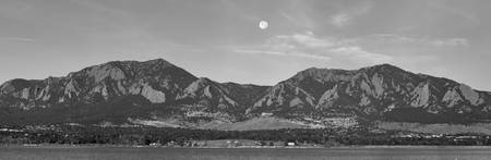 BW Full Moon Boulder Colorado Front Range Panorama