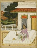 A nobleman smoking a hookah on a terrace with a di