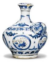 A Safavid blue and white pottery huqqa base (ghali
