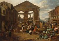 JAN VAN BUKEN - AN ITALIANATE MARKET SCENE WITH RE