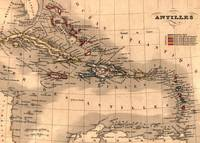 Map of the Antilles, 1843. The Caribbean islands