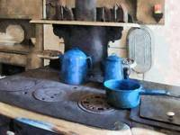 Blue Pots on Stove