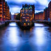 Water Castle of Hamburg at Night Art Prints & Posters by George Oze