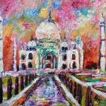 """Taj Mahal India Temple Impressionist Oil Painting"" by GinetteCallaway"