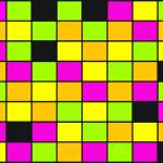 """Brightly Neon Colored Squares Pattern"" by ValeriesGallery"