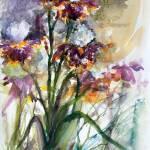 """Bearded Irises Purple White and Yellow"" by GinetteCallaway"
