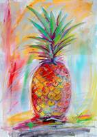 Aloha Pineapple Mixed Media Art Ginette