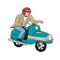 Rider Riding Scooter Isolated Cartoon