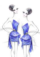 The little blue dress - fashion illustration