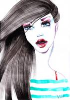 Turquoise stripes fashion illustration