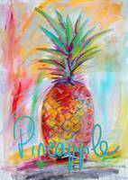 Pineapple Fruit Painting with Text