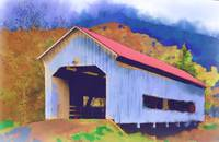 Covered Bridge With Red Roof