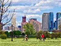 Couple Cycling in Liberty State Park