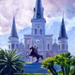 """new_orleans_stlouiscathedral_statue_noframe"" by KeatingArt"