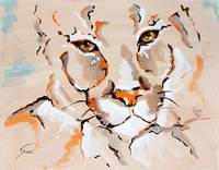 Cougar Amber Eyes - Animal Art by Valentina Mileti