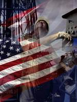 American Flag-Oilman-Oilfield-Oil Well