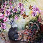 """Cat and Butterflies in Cottage Garden Oil Painting"" by GinetteCallaway"