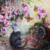 Cat and Butterflies in Cottage Garden Oil Painting