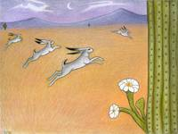Leaping Hares with Saguaro Flower