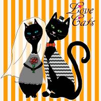 Love Cats Wedding Art Prints & Posters by Paintings by gretzky
