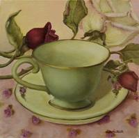 Green Teacup and Pink Roses