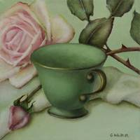 Seafoam Green Teacup and Roses