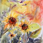 """Expressive Sunflowers Watercolor and Ink by Ginett"" by GinetteCallaway"