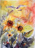 Expressive Sunflowers Watercolor and Ink by Ginett
