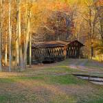 """Rustic Autumn Covered Bridge Southern Tier NY"" by daisyjoan"