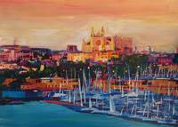 Spain Balearic Island Palma de Majorca with Harbou