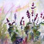 """""""Basil Flowers Culinary Herbs Watercolor"""" by GinetteCallaway"""