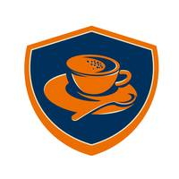 Coffee Cup Teaspoon Crest Retro