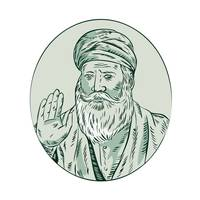 Sikh Guru Priest Waving Etching