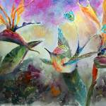 """""""Peacock Tail Hummingbird Watercolor"""" by GinetteCallaway"""
